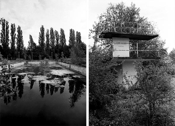 Lost places | Becken und Sprungturm im Freibad BVG Stadion, Berlin Lichtenberg - © bildraum-f | fotografie